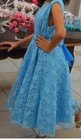 Vestido De Festa Infantil Azul Com Renda
