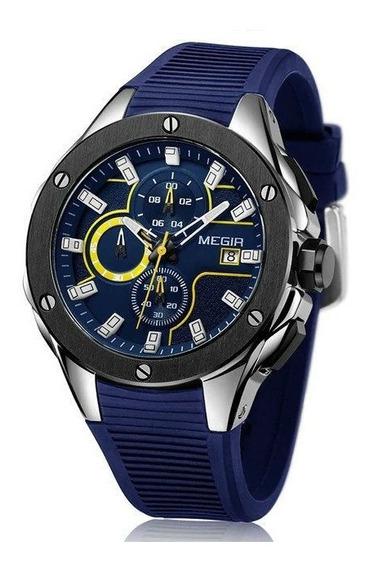 Reloj Hombre Original Megir Militar Cronografo, Análogo 2053
