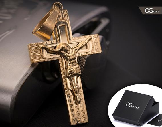 Pingente P/ Corrente Aço Inox Crucifixo J-295 Banhado Ouro