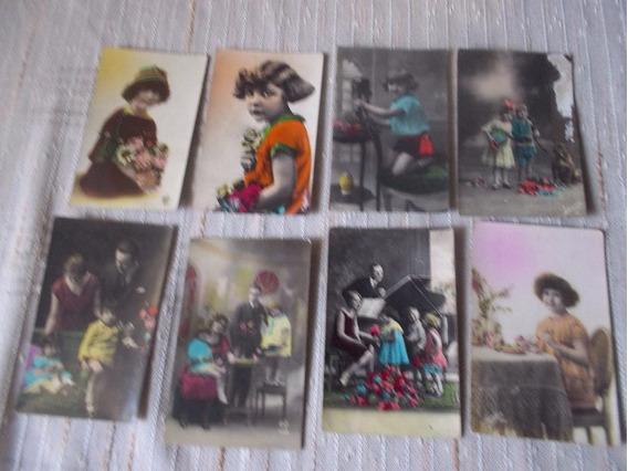 Lote De 8 Antiguas Post Card Coloreadas . Motivos Familiares
