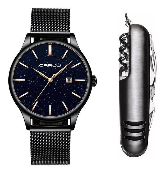 Relógio Masculino Crrju Luxo Preto Metálico + Canivete Inox