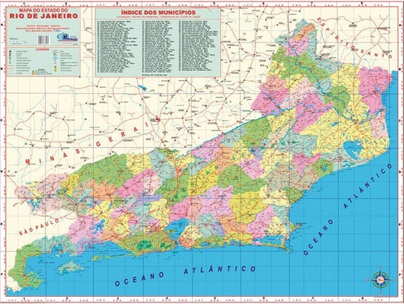 Mapa Do Estado Do Rio De Janeiro - 120cm X 90cm Gigante