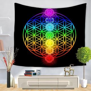 Mandala Textil/yoga/flor De La Vida/chakras/cubrecama/decoración