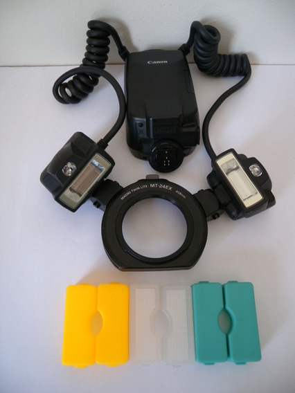 Canon Flash Macro Twin Lite Mt-24ex Semi Novo + Extras