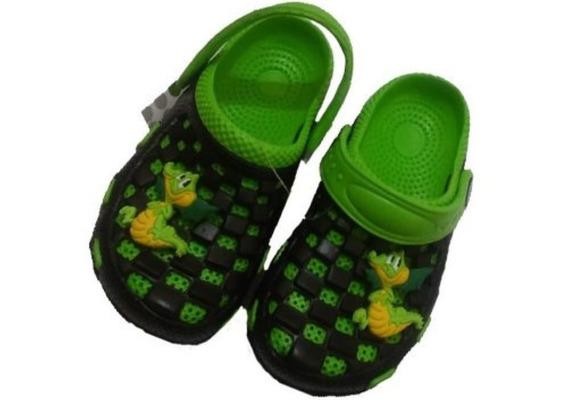 N° 27 Sandalias Goma Infantil Negro Verde Nene Varon Nenas