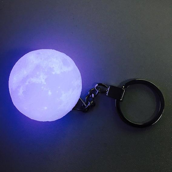 Llavero De Luna Llena 3d Con Luz Moonlight