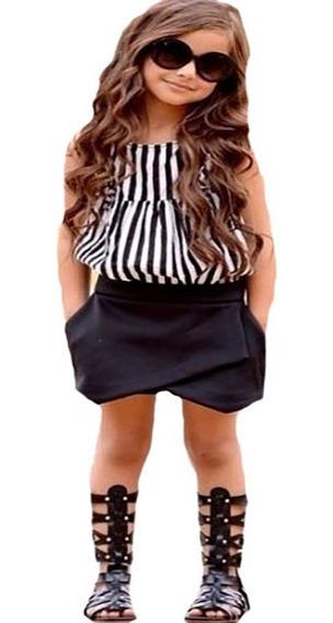 Ropa Para Niña Conjunto 2 Piezas Falda Short Negro Y Blusa A Rayas Blancas Y Negras