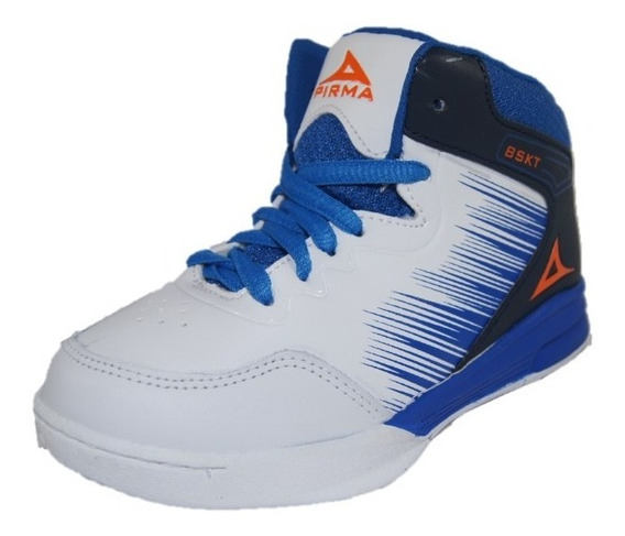 Tenis Pirma Basketball Mod. 731 Color Blanco/ Azul (15-17.5)
