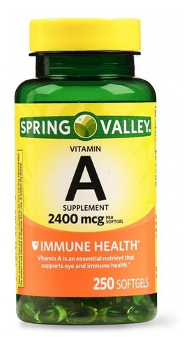 Imagen 1 de 1 de Vitamina A Retinilo Inmudidad 2,400mcg 250caps Spring Valley