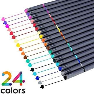 Juego De Marcadores De Punta Fina, 24 Colores