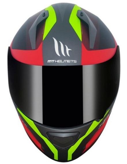 Capacete Moto Mt Stinger Divided Cinza Vermelho Neon Fosco