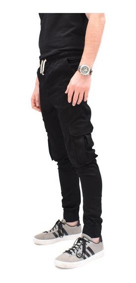 Pantalones Hombre Cargo Joggers Elastizado Gabardina Puños