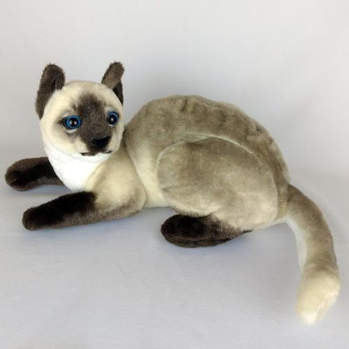 Gato De Pelúcia Realista Siamês 36cm