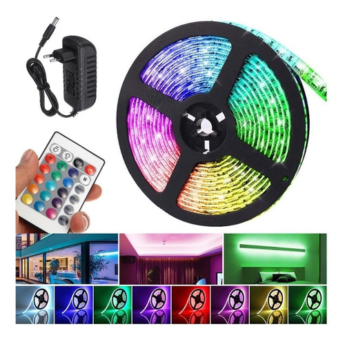 Kit Tira Led Rgb 5050 , 5 Metros 150 Led + Control, Fuente P