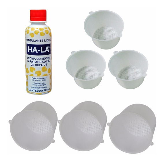 Kit Coalho Hala 200ml Queijo + 3 Formas 500g + 3 Formas 1kg
