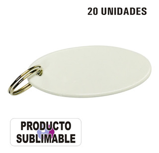 Llavero Ovalado Sublimable Polimero Blanco Pack 20 Unidades