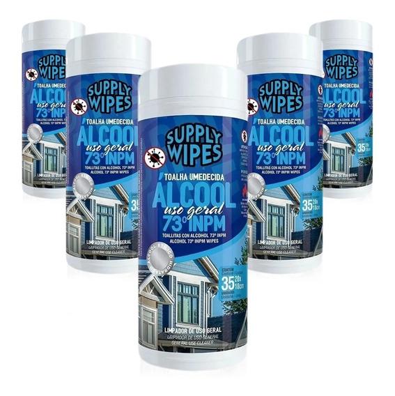 Lenços Umedecidos Álcool 70° Tubo Kit Com 5 Potes