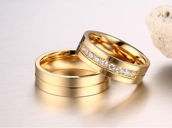 Par Aliança Compromisso Noivado Namoro Banhada A Ouro 18k