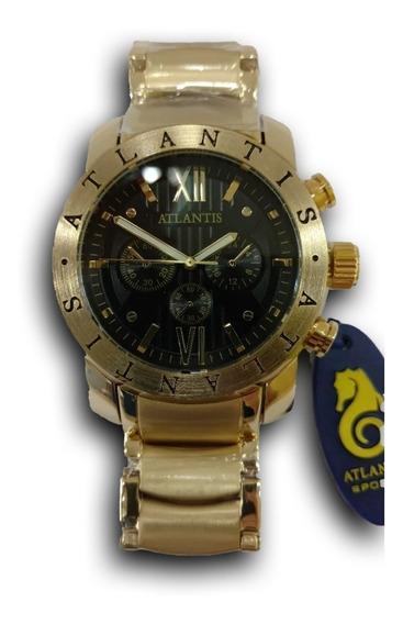 Relógio Atlantis Masculino Dourado Original
