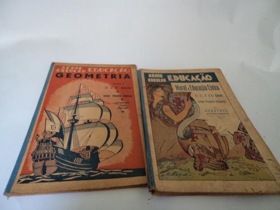 2 Livros Escolar Série Figueirinhas -moral E Civica Ano 1933