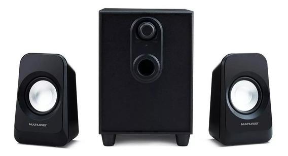 Caixa De Som Super Bass 2.1 Preta Bivolt 20w Rms Pc/ Tv/ Aux