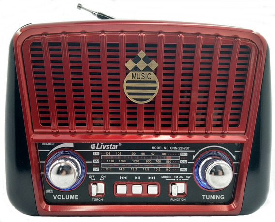 Radio Portátil Retrô Usb Bluetooth Recarregável C/alça 2257