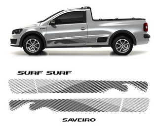 Kit Faixa Adesivo Saveiro Surf 2015/16 Modelo Original Preto
