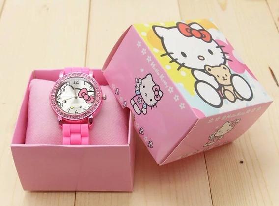 Relógio Hello Kitty Feminino Infantil Pulseira Silicone ***