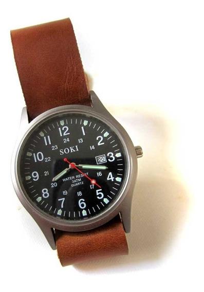 Relógio Masculino Militar Soki Com Pulseira Nato Em Couro