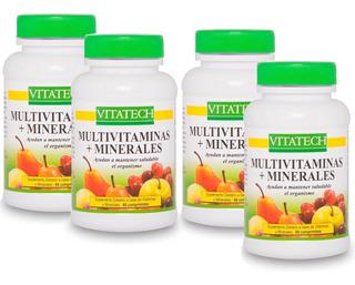 Multi Vitaminas Y Minerales X 4 Frascos 60 Comp En C/u