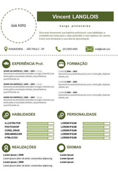 Curriculum Vitae - Personalizado, Profissional 06 Modelos.