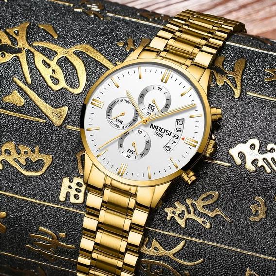 Relógio Masculino Nibosi De Luxo Aprova Dagua