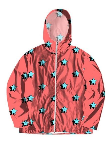 Jaqueta Corta Vento Forrada Com Bolsos Star Red Estrela Azul