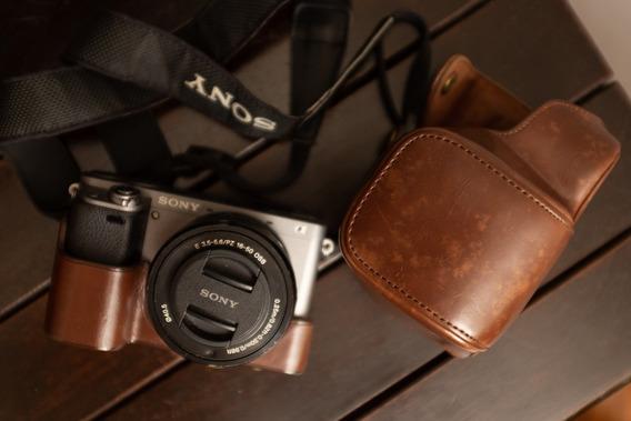 Câmera Sony A6000 Com Lente 16-50, Filtro Nd E Case De Couro