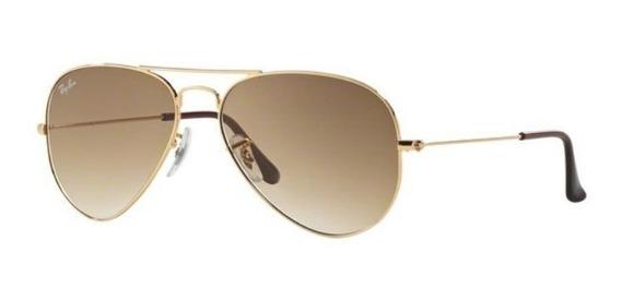 Oculos Sol Ray Ban Aviador Rb3025 001 51 55mm Dourado Marrom