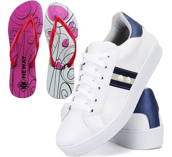 Kit Tenis Sapatenis Feminino Casual + Chinelo Black Friday