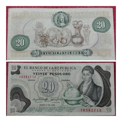 Imagen 1 de 1 de Billete De 20 Pesos Oro De 1983.