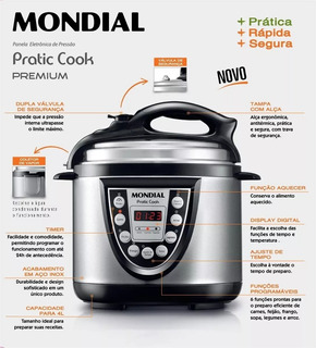 Panela Elétrica De Pressão Mondial Pratic Cook 4l Pe-09 220v