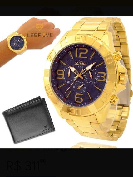 Relógio Masculino Dourado Condor Ouro 18k + Brinde Carteira