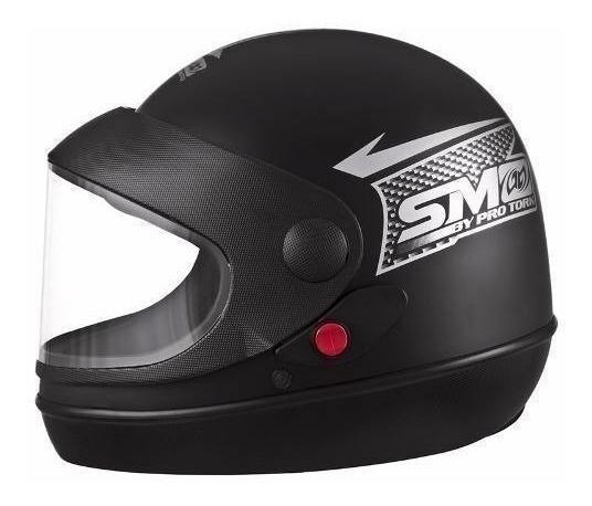 Capacete Moto Preto Fosco Semi Automtico N 58 Pro Tork 11456