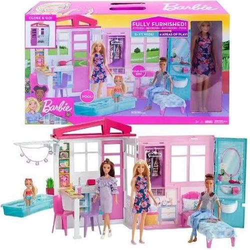 Casa Glam De La Barbie Amoblada Plegable Muñeca Y Accesorios