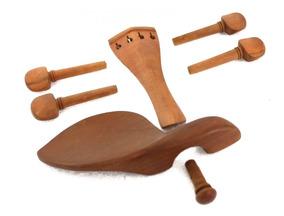 Kit De Montagem P Violino 4/4 Marrom Boxwood Completo + Breu