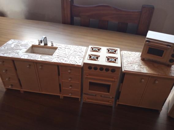 Set De Cocina-para Muñecas-fibrofacil-artesanal-