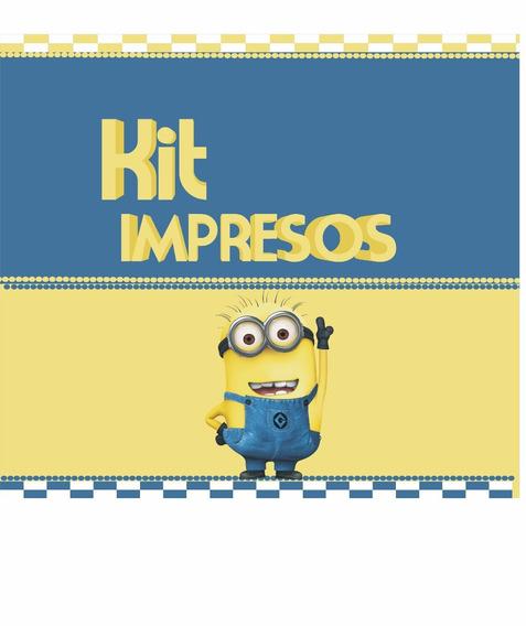 Minions Kit Impresos Y Personalizados Cumpleaños P/10 Niños