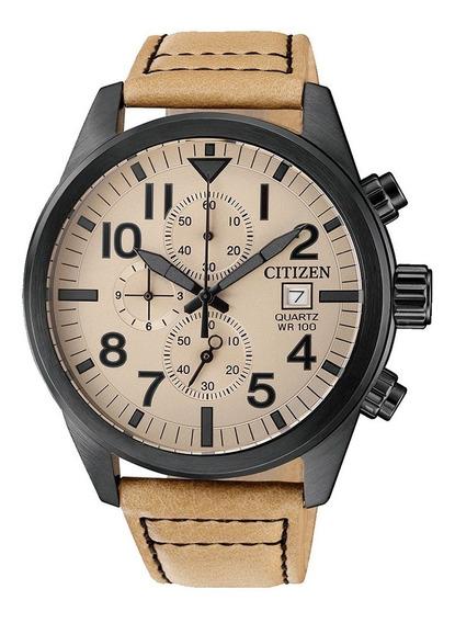 Relógio Citizen Masculino Cronografo Tz31178x Preto Couro