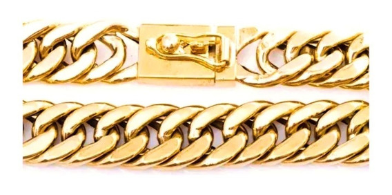 Pulseira Masculina Ouro 18k Elo Grumet Duplo 75g Maciça 0025