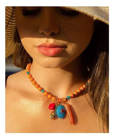 Colar Luxo De Pedras - Coleção Verão 2019/20 - Laranja