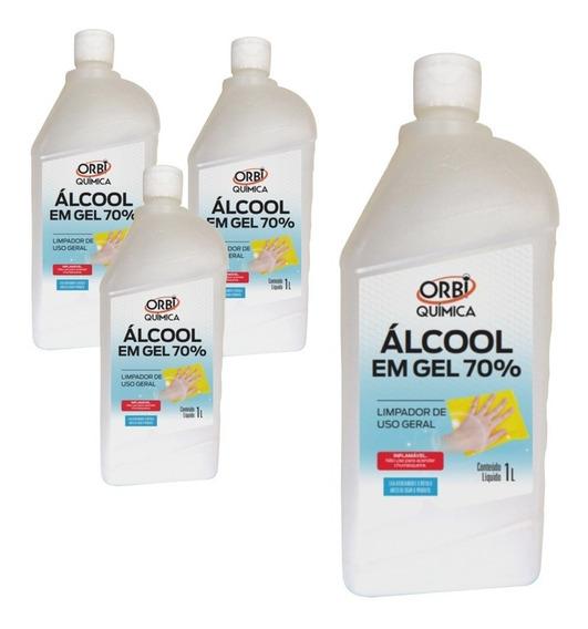 Kit 4 Álcool Gel Antisséptico P/ Mãos 70% 1 Litro 13641 Orbi