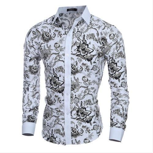 Camisa Social Masculina Floral Slim: Pronta Entrega