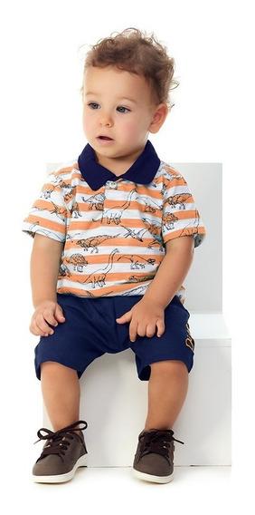 Roupa Bebê Menino Conjunto Camisa Polo E Bermuda Com Bordado
